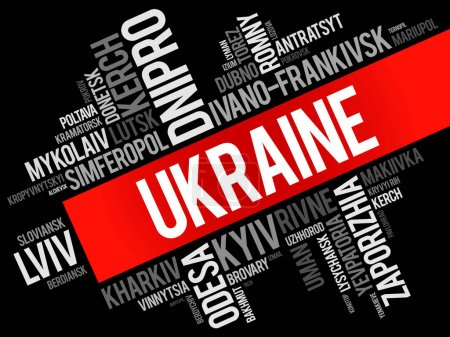 List of cities in Ukraine word cloud collage