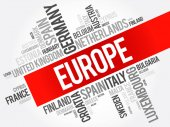 Europe List of cities word cloud collage travel concept background