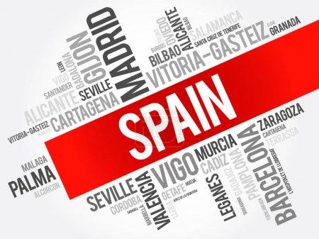 List of cities in Spain word cloud