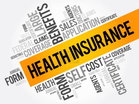 Illustration for Health Insurance word cloud collage, healthcare concept background - Royalty Free Image