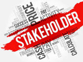 Stakeholder word cloud collage business concept background