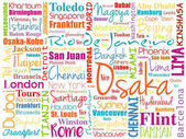 Cities in the World related word cloud