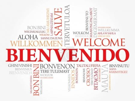Illustration for Bienvenido , Welcome in Spanish, word cloud in different languages, conceptual background - Royalty Free Image