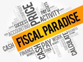 Fiscal Paradise word cloud collage
