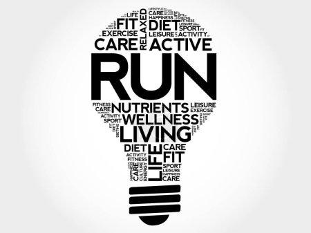 RUN bulb word cloud collage, health concept backgr...