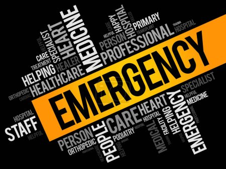 Illustration for Emergency word cloud collage, healthcare concept background - Royalty Free Image