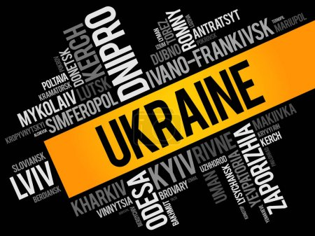 List of cities in Ukraine word cloud