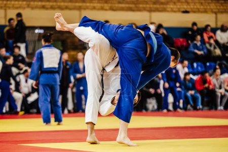 Athletes judoka fight