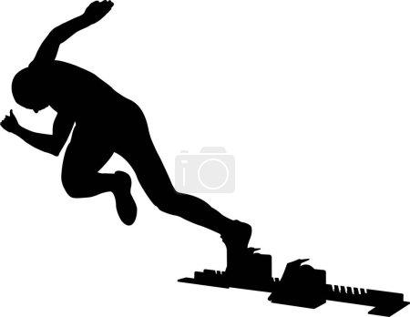 black silhouette runner start to sprint