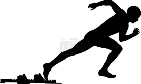 male athlete start from starting blocks