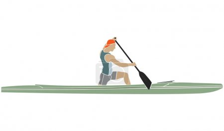 athlete sports canoe with paddle