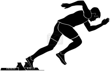 black silhouette start sprinter