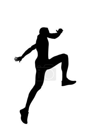 Illustration pour Concept liberté homme sauter jusqu'à silhouette noire - image libre de droit