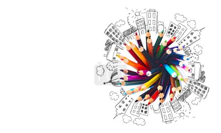 Photo pour Crayons de couleur isolés sur fond - image libre de droit