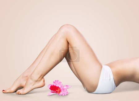 female body  with pink flower