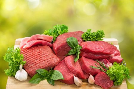 Photo for Fresh Raw Meat on Background - Royalty Free Image