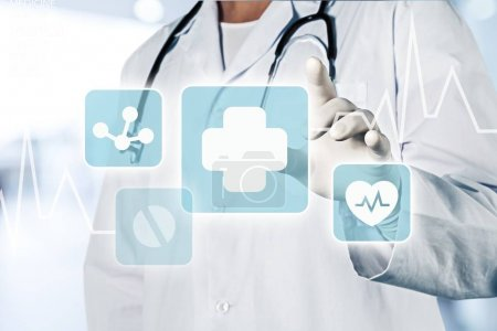 Photo for Medical icons and young  doctor with stethoscope - Royalty Free Image