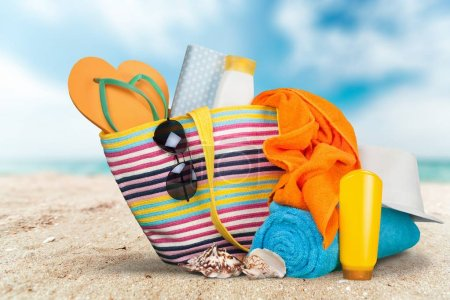Colorful Bag on Summer Beach