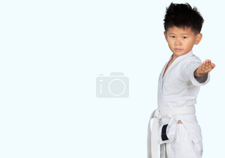 Asian Little Karate Boy