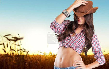 woman wearing  cowboy's hat
