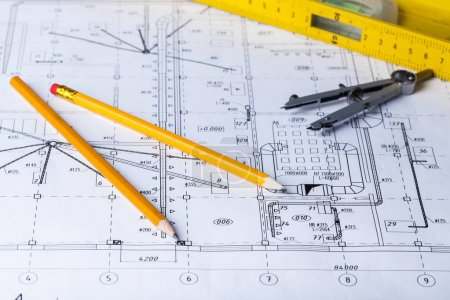 Photo for Architect workplace - architectural project, blueprint. Construction concept. Engineering tools. - Royalty Free Image