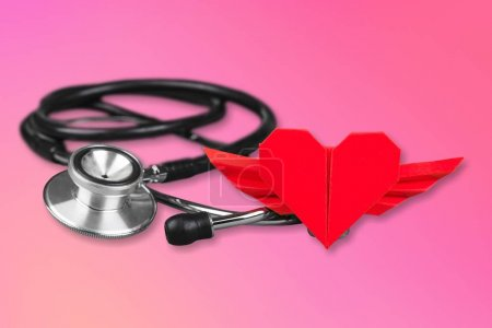 Medical Stethoscope with Heart isolated on  background