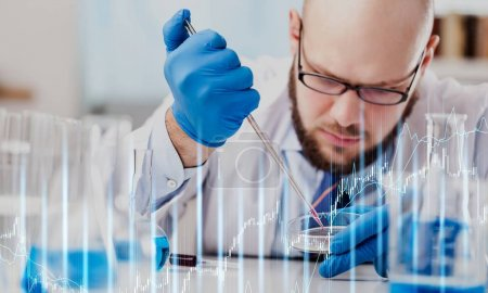 Scientist man with colored liquid