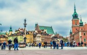 Warsaw, Poland  May 07, 2017: Plac Zamkowy - The castle square in Warsaw is located between the Warsaw royal palace and the Warsaw Old Town.