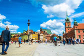Warsaw, Poland  July 14, 2017: Plac Zamkowy - The castle square in Warsaw is located between the Warsaw royal palace and the Warsaw Old Town. Sunny summer day. Horizontal photo.