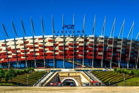 Warsaw, Poland  July 16, 2017: National football stadium of poland in Warsaw. Sunny summer day with a blue sky. Horizontal photo.
