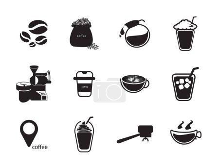 Silhouettes coffee icon set
