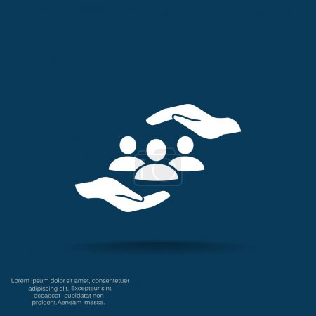 Group of people and hands icon