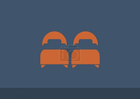 Illustration for Twin beds, web icon. Vector illustration - Royalty Free Image