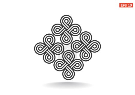 Illustration for Curve symmetric figures pattern. vector illustartion - Royalty Free Image