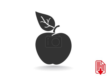 Apple with leaf web icon