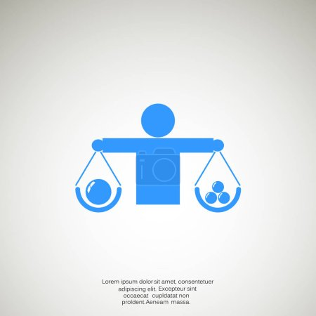 Illustration for Human scales simple web icon, outline vector illustration - Royalty Free Image