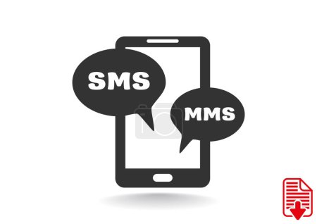 Smartphone with sms bubbles icon