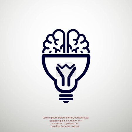 Illustration for Brain with light bulb icon, idea concept, outline vector illustration - Royalty Free Image