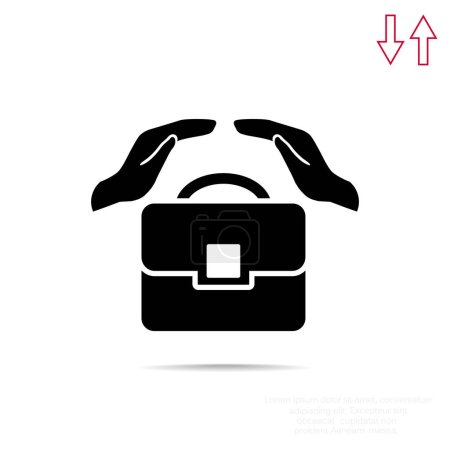 business bag and hands icon