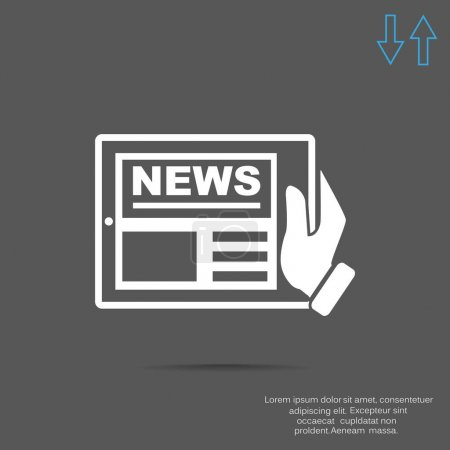 Hand holding tablet with news