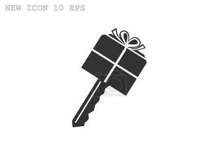 Illustration for Gift Key icon. vector illustration - Royalty Free Image