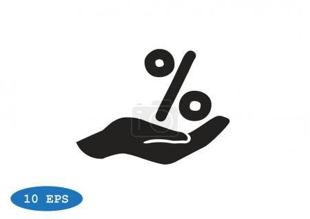 Illustration pour Pourcentage sur l'icône web main. conception vectorielle - image libre de droit