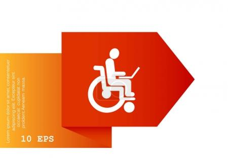 Disabled with laptop on wheelchair icon