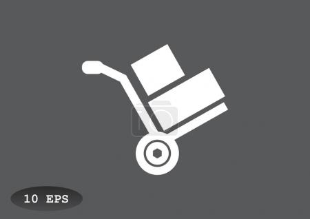 Wheelbarrow with boxes icon