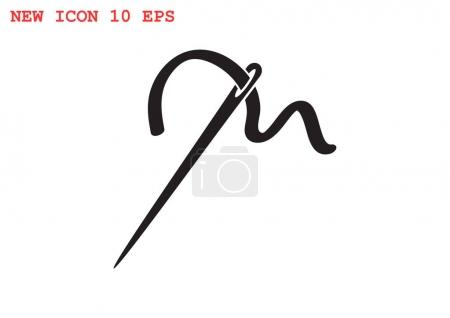 Sewing needle flat icon