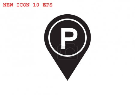 Map pointer with car parking icon