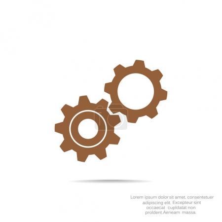 Illustration pour Engrenages arrondis icône simple, illustration vectorielle contour - image libre de droit