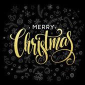 Vektor vánoční přání s prvky skici. Zlatá, černá a bílá. Vektorové ilustrace