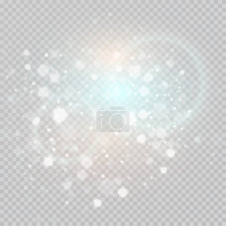 Bokeh light gray sparkles on transparency background Glowing particles element for special effects.Vector illustration