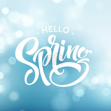 Hello Spring. Beautiful spring background with bokeh and handwritten text. Vector illustration